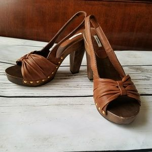 New MIU MIU 8 Leather wooden platform sandals heel